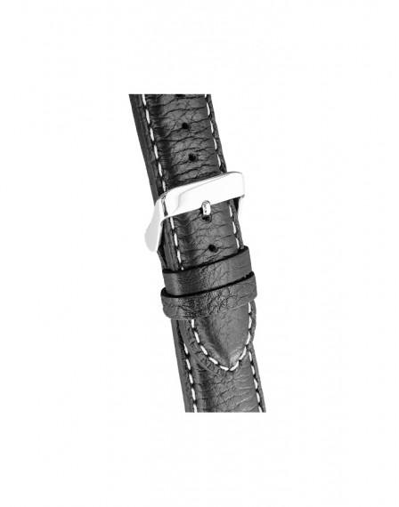 Kiber 22mm Steel Arrow zwart lederen horlogeband