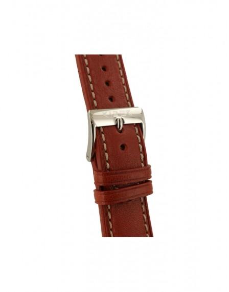 Leren horlogeband 22mm met ecru sticksel in de kleur bruin