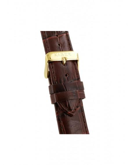 Kiber 22mm Iluma croq print bruin lederen horlogeband