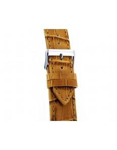 22mm Oker Croq Print bruin lederen horlogeband
