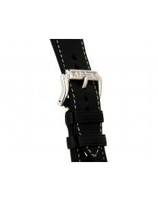 Kiber 24mm Race zwart / lichtgroen lederen horlogeband