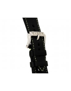 24mm Race zwart / lichtgroen lederen horlogeband