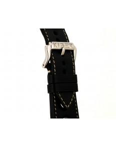 22mm Race zwart / ecru lederen horlogeband