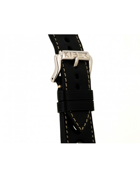Kiber 24mm Race zwart / ecru lederen horlogeband