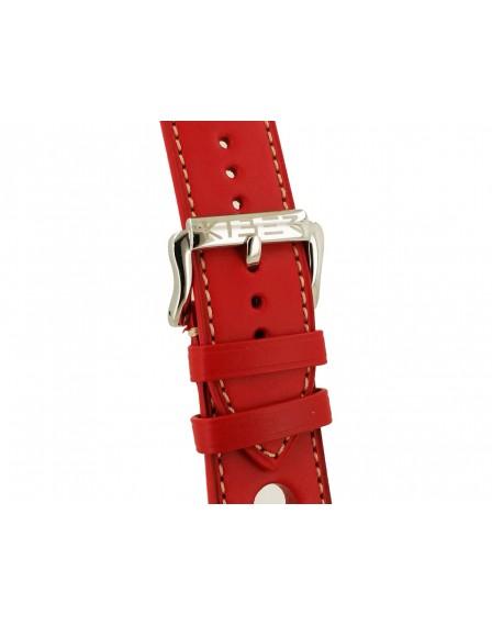 Kiber 24mm Race rood / ecru lederen horlogeband