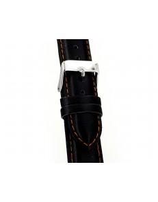 22mm Silverstone zwart lederen horlogeband